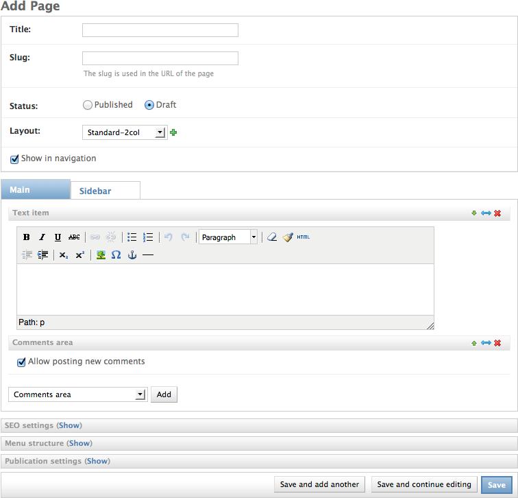 Page types | Django Fluent CMS